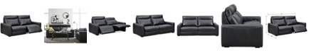 """Furniture Marzia 78"""" Leather Sofa with 2 Power Recliners, Created for Macy's"""