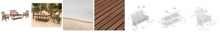 Walker Edison 4-Piece Acacia Wood Outdoor Patio Conversation Set with Cushions - Dark Brown