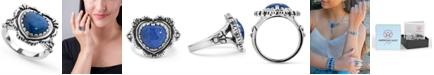 American West Lapis Heart Bezel Set Ring in Sterling Silver