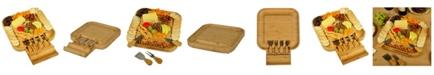 Picnic At Ascot Malvern Bamboo Cheese Board Set with Cracker Rim and 4 Tools