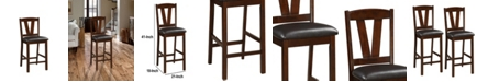 Benzara Rubber Wood Counter Height Armless Chair, Set of 2