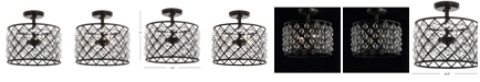 JONATHAN Y Gabrielle Crystal/Metal LED Semi-Flush Mount