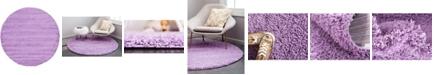 """Bridgeport Home Exact Shag Exs1 Lilac 8' 2"""" x 8' 2"""" Round Area Rug"""
