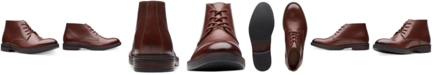 Clarks Men's Paulson Mid Mahogany Leather Casual Boots