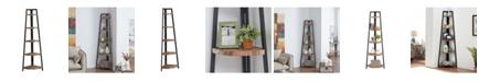 Danya B Rustic Free-Standing 5-Tier Pyramid Industrial Corner Shelf in Distressed Wood Finish