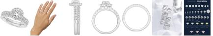 GIA Certified Diamonds GIA Certified Diamond Halo Bridal Set (1-1/2 ct. t.w.) in 14k White Gold