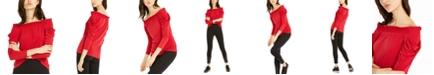 Michael Kors Off-The-Shoulder Draped-Sleeve Top
