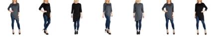 24seven Comfort Apparel Mid Thigh Asymmetric Raglan Sleeve Top