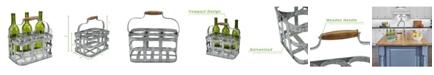 Mind Reader Rustic Farmhouse Bottle Carrier, 6 Wine Bottle Caddy