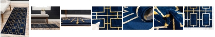 Marilyn Monroe Glam Mmg002 Navy Blue/Gold 2' x 10' Area Rug