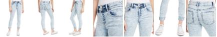 Indigo Rein Juniors' Cuffed Double-Button Skinny Jeans