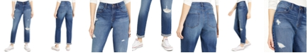 Rewash Juniors' Ripped High-Rise Cuffed Mom Jeans