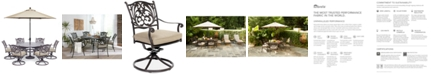 """Furniture Chateau Outdoor Aluminum 7-Pc. Set (60"""" Round Dining Table & 6 Swivel Rockers) with Sunbrella® Cushions, Created For Macy's"""