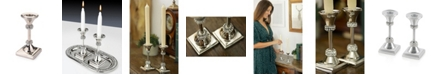 Classic Touch Single Stainless Steel Candle Holder with Crystal Diamond Design