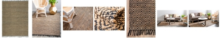 Bridgeport Home Braided Tones Brt3 Natural/Black 9' x 12' Area Rug
