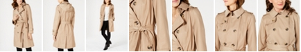 London Fog Petite Double-Breasted Trench Coat, Created For Macy's