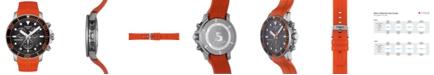 Tissot Men's Swiss Chronograph SeaStar Orange Rubber Strap Diver Watch 45.5mm
