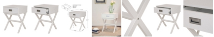 Glitzhome White Wooden X-Leg End Table with 1 Drawer