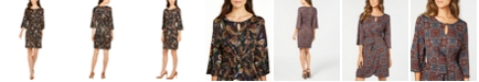 NY Collection Petite Printed Faux-Wrap Dress
