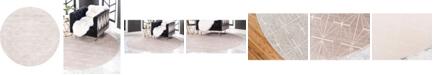 Jill Zarin Fifth Avenue Uptown Jzu002 Light Brown 8' x 8' Round Rug