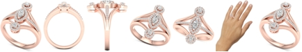 Macy's Diamond Marquise Halo Statement Ring (1/2 ct. t.w.) in 14k Rose Gold