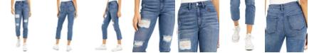 Tinseltown Juniors' Cropped High Rise Slim Straight-Leg Jeans