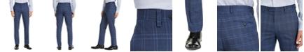 Alfani Men's Slim-Fit Stretch Navy Blue Plaid Suit Pants, Created for Macy's