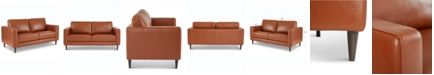 """Furniture Jennis 58"""" Leather Loveseat, Created for Macy's"""