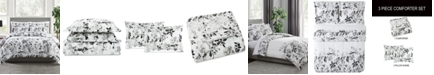 Pem America Black and White 3-Pc. Floral-Print Full/Queen Comforter Set, a Macy's Exclusive Style