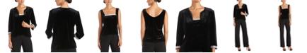 R & M Richards 2-Pc. Embellished Velvet Top & Jacket Set
