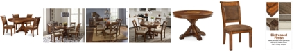 Furniture Closeout! Mandara Round Expandable Furniture, 5-Pc. Set (Round Dining Trestle Table & 4 Side Chairs)