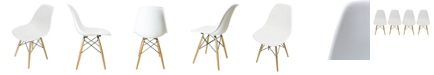 Gold Sparrow Lucas White Wood Grain Accent Chairs (Set of 4)