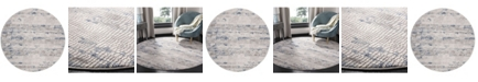 """Safavieh Meadow Gray and Navy 6'7"""" x 6'7"""" Round Area Rug"""