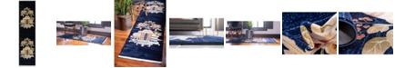 "Bridgeport Home Sahil Sah7 Navy Blue 2' 7"" x 10' Runner Area Rug"