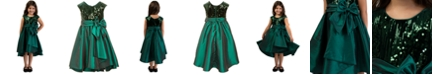 Bonnie Jean Toddler Girls Sequined Taffeta Bow Dress