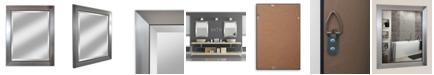 "Reveal Frame & Decor Alpine Silverstone 29"" x 35"" Black Edged Beveled Wall Mirror"