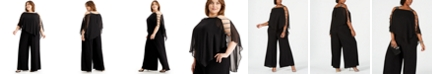 MSK Plus Size Embellished Cape-Overlay Jumpsuit