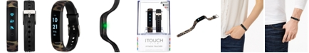 iTouch Women's Slim Interchangeable Leopard Printed & Black Silicone Straps Activity Tracker 13x39mm