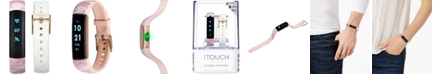 iTouch Unisex Slim Interchangeable Blush Camouflage & White Silicone Straps Activity Tracker 13x39mm