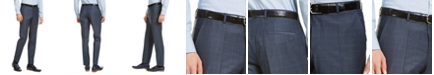 HUGO HUGO Hugo Boss Men's Slim-Fit Dark Blue/Rust Plaid Suit Pants