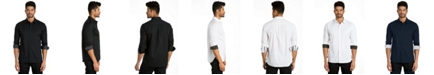 Jared Lang Solid Long Sleeve Sport Shirt with Contrast Print
