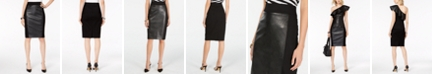 INC International Concepts INC Faux Leather Ponté-Knit Pencil Skirt, Created for Macy's