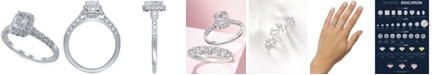 Macy's Star Signature Diamond Emerald Cut  Halo Engagement Ring (1-1/5 ct. t.w.) in 14k White Gold