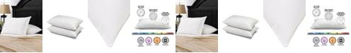 Ella Jayne Soft Gel Filled 100% Cotton Windowpane Shell Stomach Sleeper Pillow - Set of Two - Queen