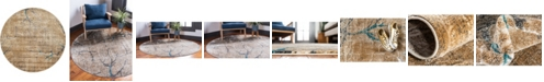 Bridgeport Home Aroa Aro1 Light Brown 6' x 6' Round Area Rug