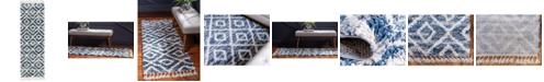 """Bridgeport Home Lochcort Shag Loc2 Blue 2' 7"""" x 8' 2"""" Runner Area Rug"""