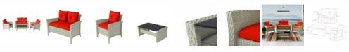 Corliving Distribution Cascade 4 Piece Distressed Resin Rattan Wicker Patio Set