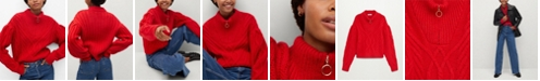 MANGO Women's Zip Knit Sweater