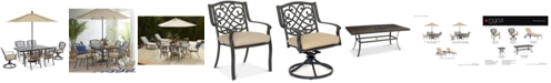 """Furniture Park Gate Outdoor Cast Aluminum 7-Pc. Dining Set (68"""" x 38"""" Dining Table, 4 Dining Chairs and 2 Swivel Rockers), Created for Macy's"""