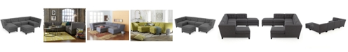 Furniture CLOSEOUT! Harper Fabric 6-Piece Modular Sectional Sofa with Chaise & Ottoman, Created for Macy's